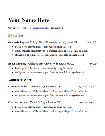 Education Based Grad School No Experience Resume Template