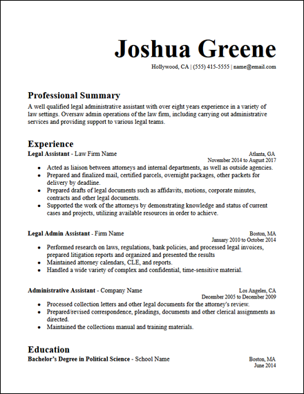 legal_admin_assistant_resume_template