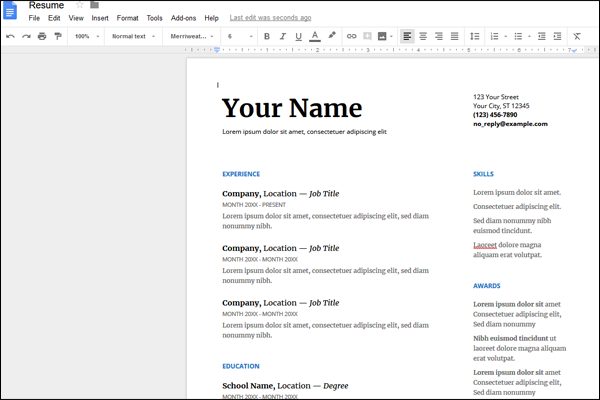 google_docs_resume_template_editing
