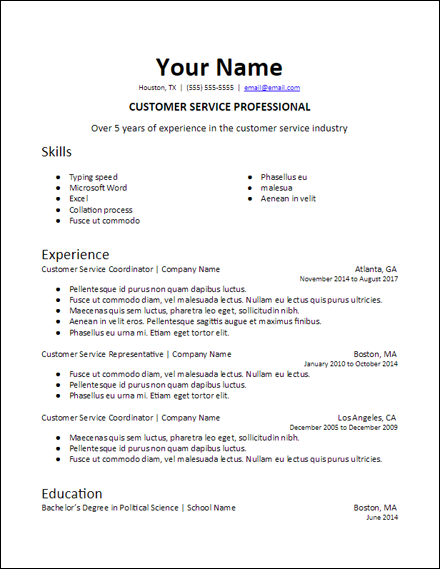 google_docs_specific_professional_summary_resume_template