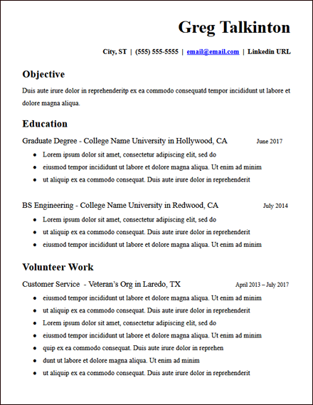 College Student Education Google Docs Resume Template Hirepowers Net