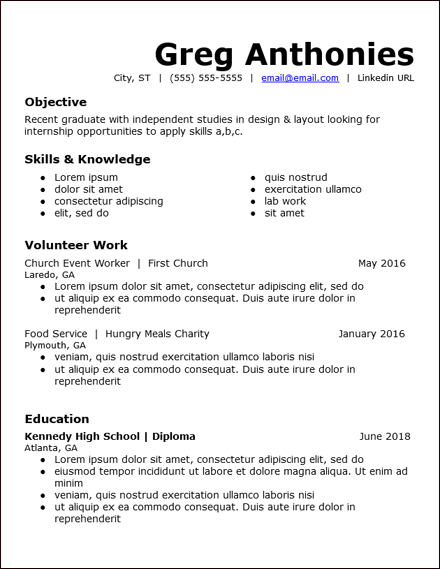 No Work Experience Resume Templates Free To Download Hirepowers Net