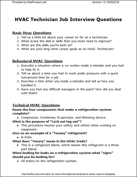 Hvac Technician Job Interview Questions And Answers Hirepowers Net