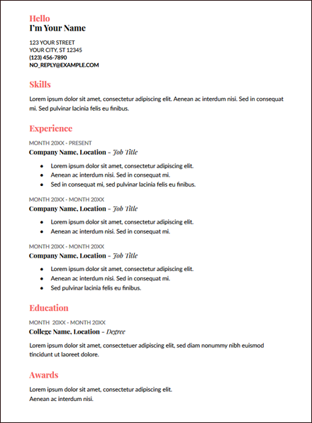 coral google docs resume template