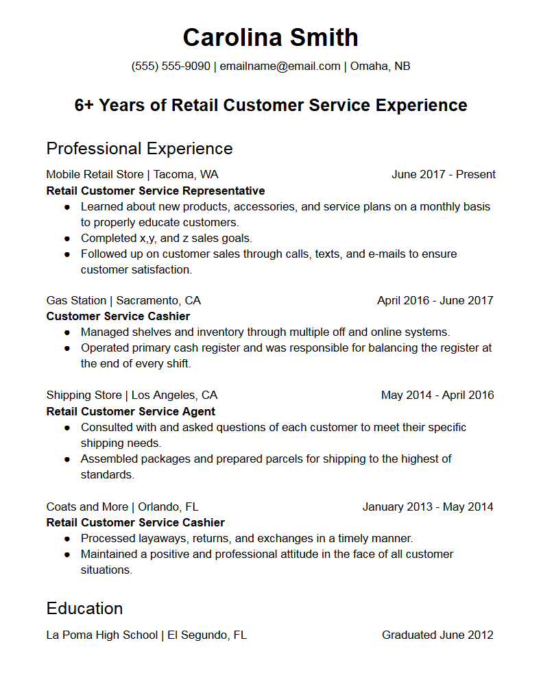 retail customer service representative resume template