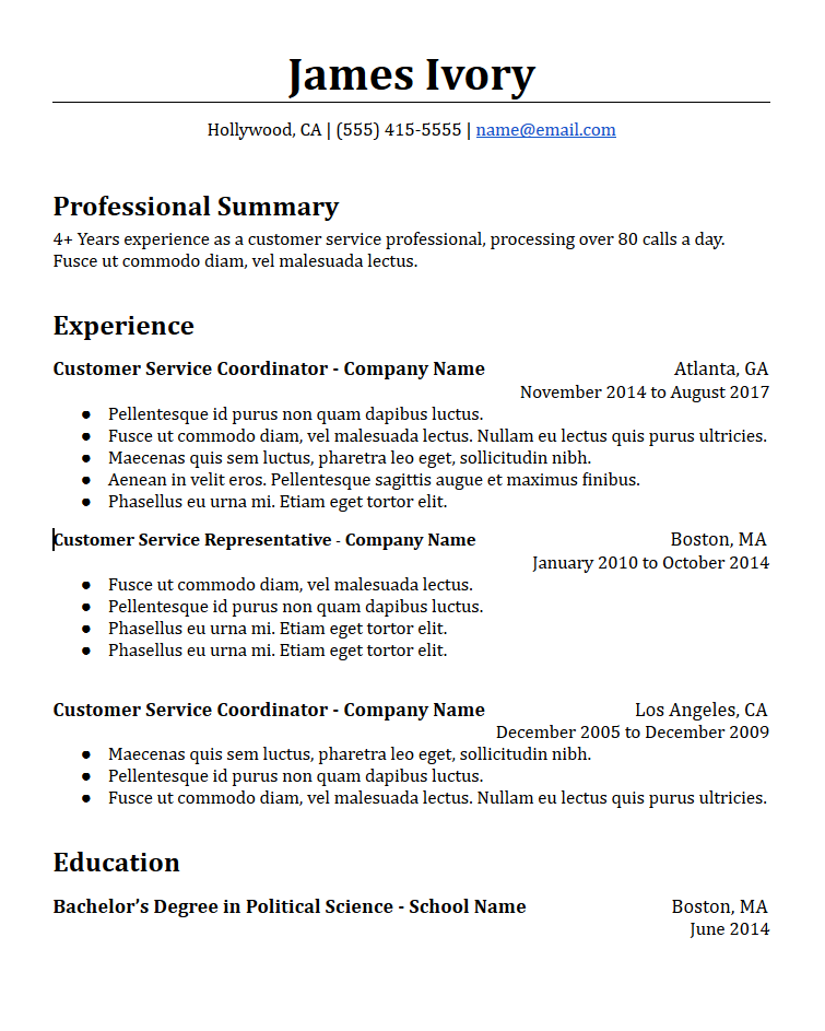 Chronological Resume Templates Free To Download