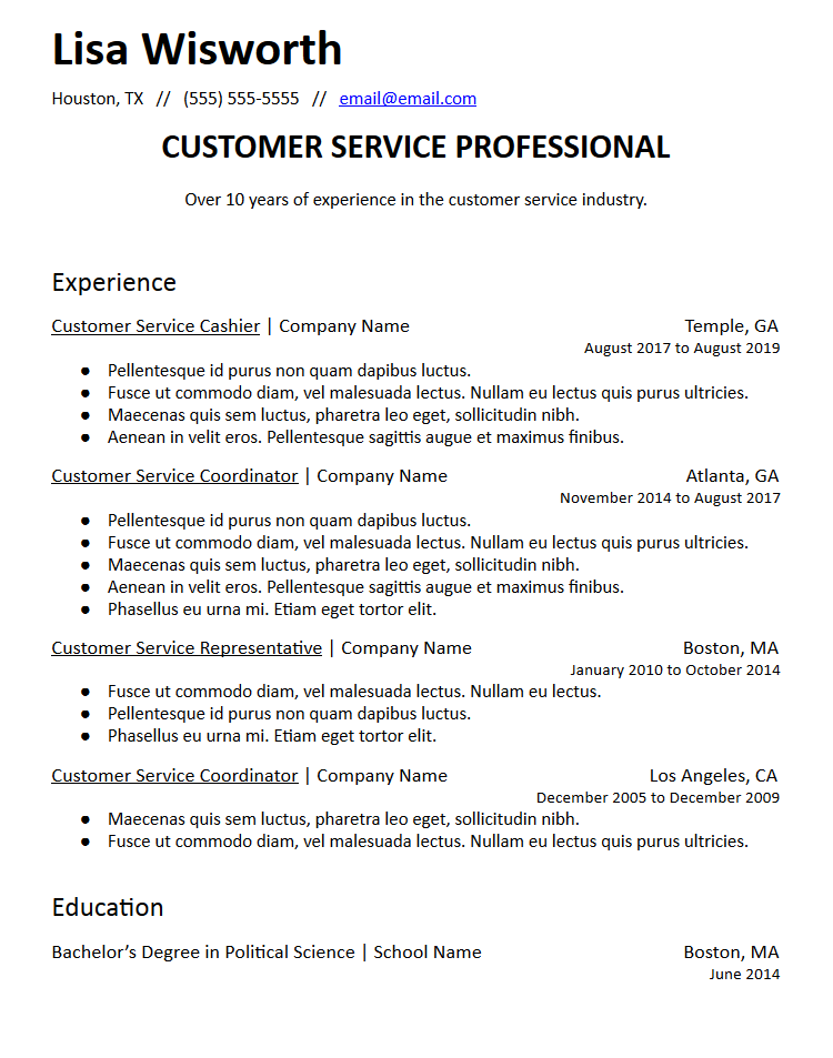 career summary statement resume template