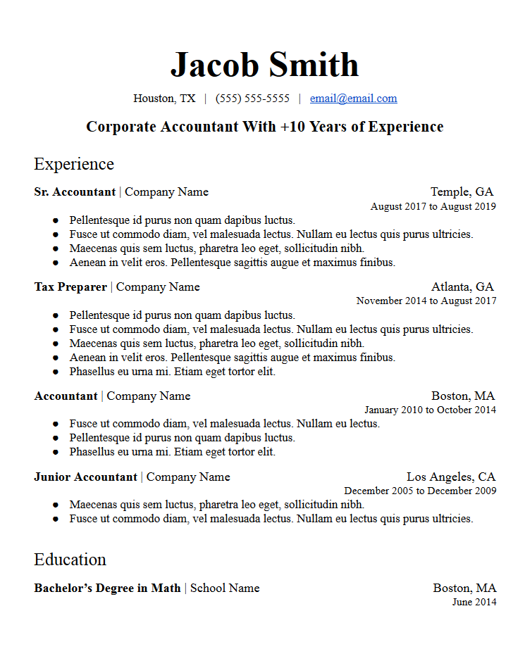profile summary sample resume template